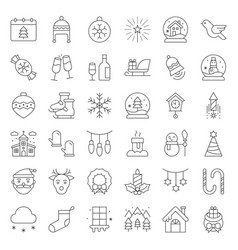 merry christmas icon set outline editable stroke vector image