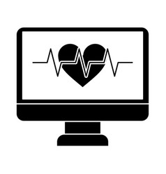 monitor heartbeat cardiology rhythm pictogram vector image