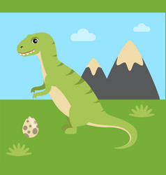 Mountain and dinosaur set vector