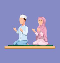 muslim couple sitting and praying islam religion vector image
