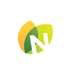 n letter leaf overlapping color logo icon vector image