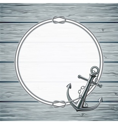 Nautical card with frame of the rope and anchor vector image