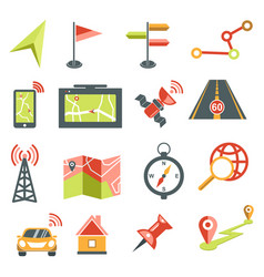 navigation isolated icons maps and location vector image