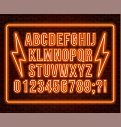 neon orange font bright capital letters with vector image