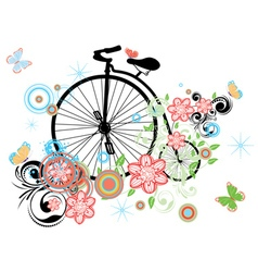 Old Bicycle and Floral Ornament vector