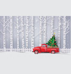 Paper art of merry christmas and winter season vector