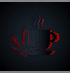 Paper cut cup tea with marijuana or cannabis leaf vector