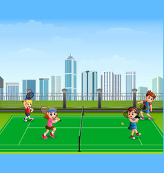 people are playing tennis outdoor vector image