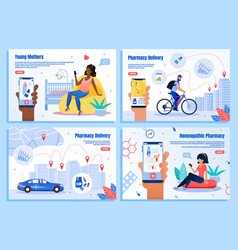 pharmacy delivery mobile app web banners vector image