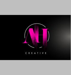 Pink ah brush stroke letter logo design vector