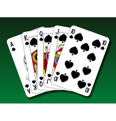 Poker hand - Royal flush spade vector image