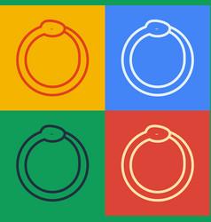 Pop art line magic symbol ouroboros icon vector
