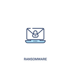 Ransomware concept 2 colored icon simple line vector