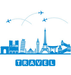 ravel and tourism and transport the landmarks of vector image