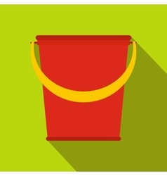 Red plastic bucket flat vector image