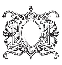 Renaissance strap-work frame is french design vector