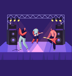 rock band performing musical concert on stage vector image
