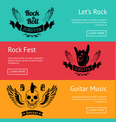 Rock-themed set of posters with colorful backdrops vector