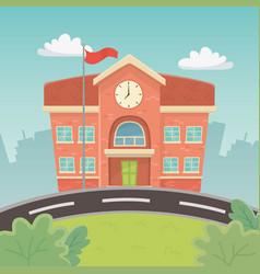school building in landscape scene vector image