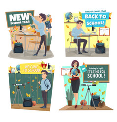 School icons with teacher and student at classroom vector