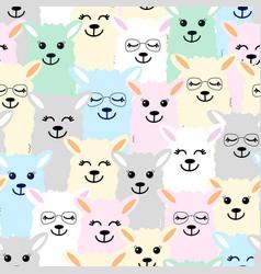 Seamless pattern cute colorful llamas design vector