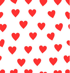 seamless red heart pattern background vector image