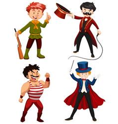 set circus characters vector image