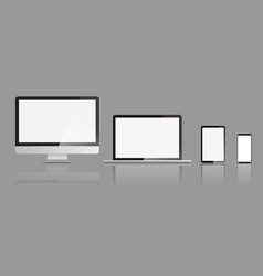 Set of realistic monitors laptop tablet and vector