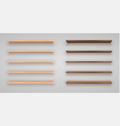 set wood shelves vector image