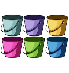 Six colourful buckets vector image