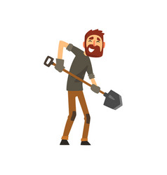 smiling male farmer working with shovel cheerful vector image