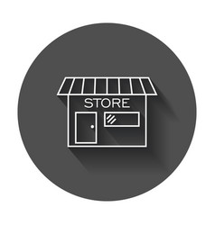 Store icon in flat style shop symbol with long vector