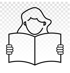 Students reading book or learn with line art icon vector