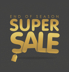 Super sale offer poster banner golden text vector