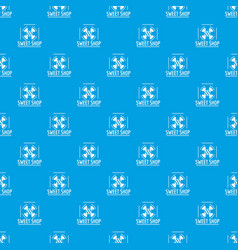 sweet shop pattern seamless blue vector image