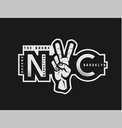 t-shirt printing design nyc emblem new york vector image
