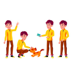 Teen boy poses set pet dog emotional vector