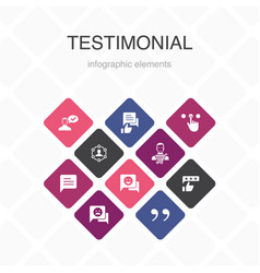 Testimonial infographic 10 option color design vector