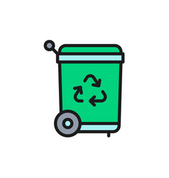 trash can recycling bin flat color line vector image