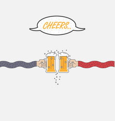 Two businessmans hand holding two beer mugs vector