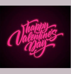 valentines day neon script lettering vector image
