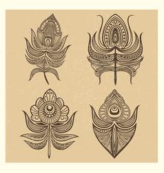 vintage mandala style feathers vector image