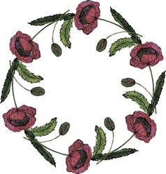 Watercolor beautiful poppy wreath vector image vector image