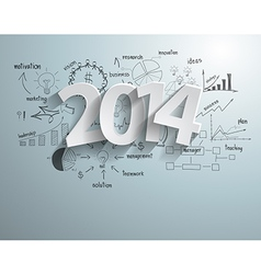 White tags with 2014 text on business success vector image