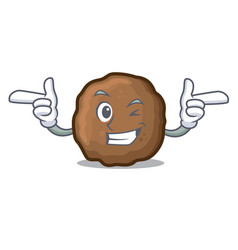 Wink meatball character cartoon style vector