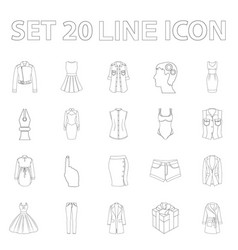 women s clothing outline icons in set collection vector image