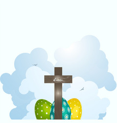 Wooden cross and decorated easter eggs on serene vector