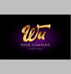 wu w u 3d gold golden alphabet letter metal logo vector image