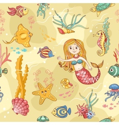 Yellow seamless pattern with mermaid vector