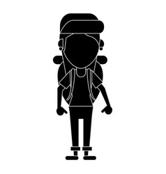 Young girl traveler with backpack pictogram vector